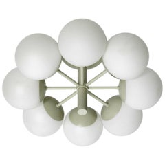 Kaiser Metal Ceiling Lamp with 6 Opaline Glasses, 1960s, Space Age Atomic Design