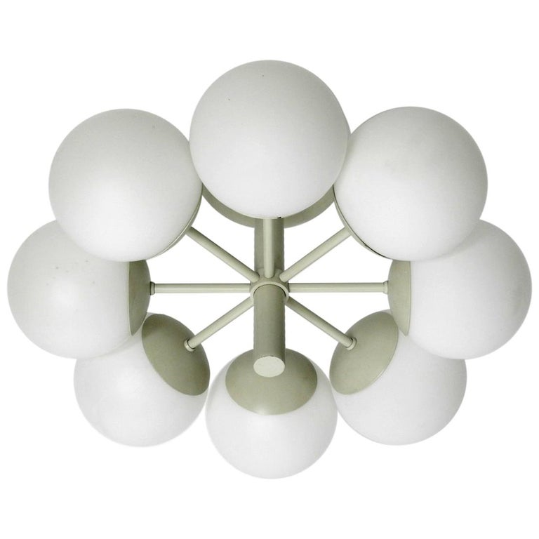 Kaiser Metal Ceiling Lamp with 6 Opaline Glasses, 1960s, Space Age Atomic Design For Sale