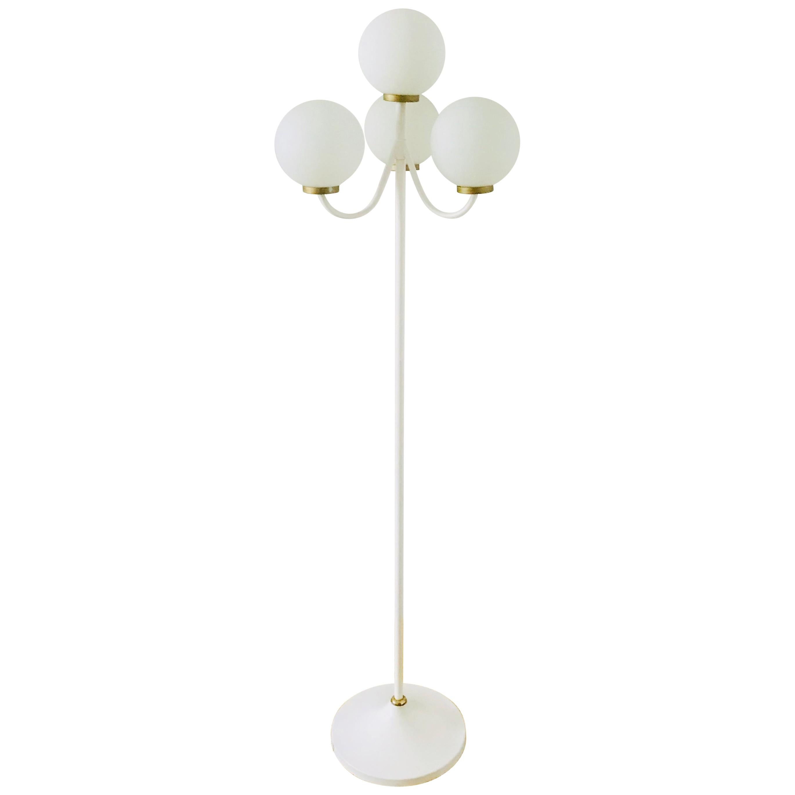Kaiser Midcentury Brass and White 4-Arm Space Age Floor Lamp, 1960s, Germany