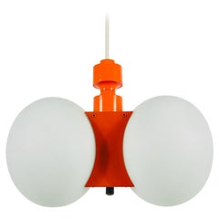 Kaiser Midcentury Red 2-Arm Space Age Chandelier, 1960s, Germany