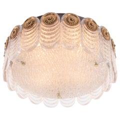 1960 Germany Kaiser Flush Mount Ceiling Light Murano Glass & Brass