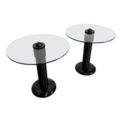 Mid century Post-modern Art Deco Form Black Aluminum & Glass End or Side Tables