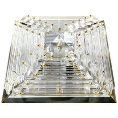 Mid 20th Kaiser Pyramid Flush Mount Crystal Glass, Brass Frame 1980s, Germany