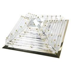 Flush Mount Crystal Glass, Brass Frame 1980s, Germany