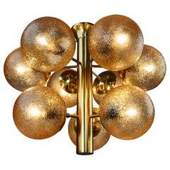 Kaiser Sputnik Glass Globes Patinated Brass Chandelier, Germany, 1970s