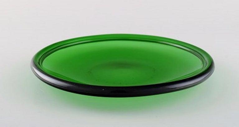 Scandinavian Modern Kaj Franck '1911-1989' for Nuutajärvi, Six Luna Plates in Green Art Glass For Sale