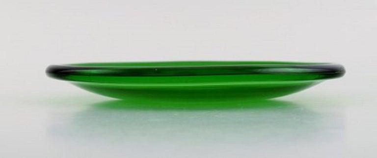 Finnish Kaj Franck '1911-1989' for Nuutajärvi, Six Luna Plates in Green Art Glass For Sale