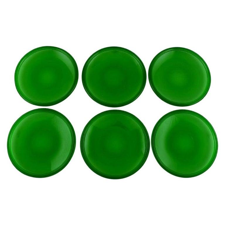 Kaj Franck '1911-1989' for Nuutajärvi, Six Luna Plates in Green Art Glass For Sale