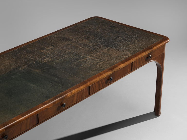 Kaj Gottlob Long Dining Table with Drawers in Caucasian Nutwood, 1920s For Sale 3