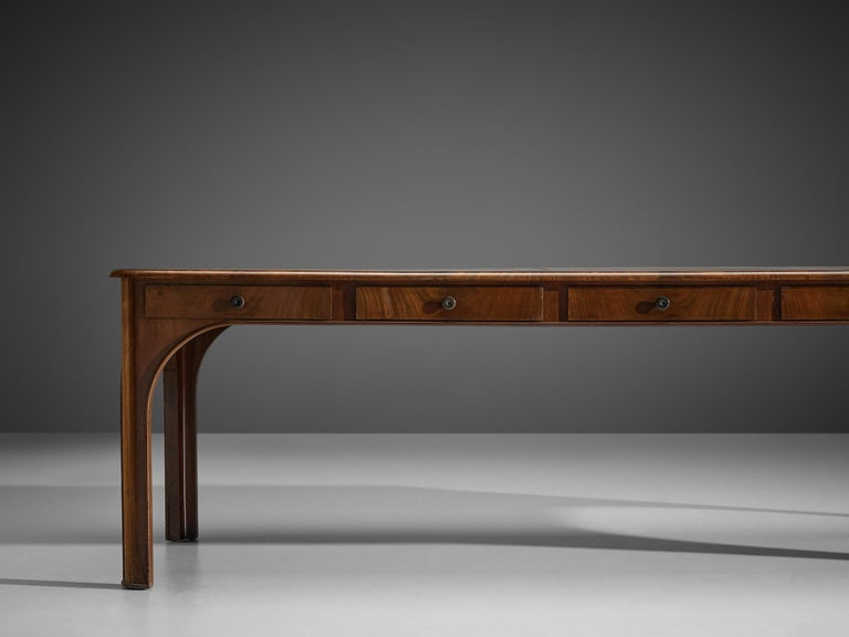 Kaj Gottlob Long Dining Table with Drawers in Caucasian Nutwood, 1920s For Sale 4