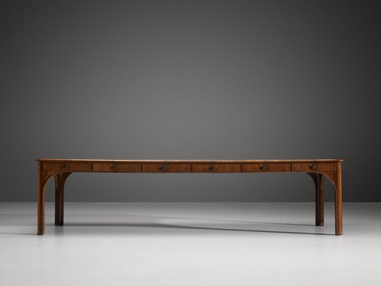 Kaj Gottlob Long Dining Table with Drawers in Caucasian Nutwood, 1920s For Sale 5
