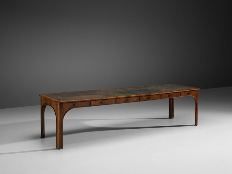 Niels August Theodor Kaj Gottlob, long dining or conference table with drawers,Caucasian nutwood, brass, leather,Denmark, 1920s  A very rare and exceptionally long library table designed by Kaj Gottlob (1887-1976),one of the most important Danish