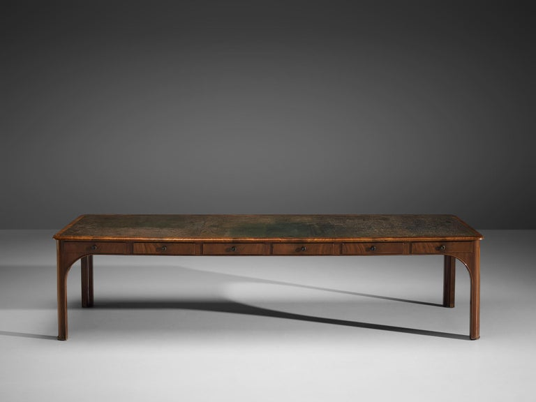 Danish Kaj Gottlob Long Dining Table with Drawers in Caucasian Nutwood, 1920s For Sale