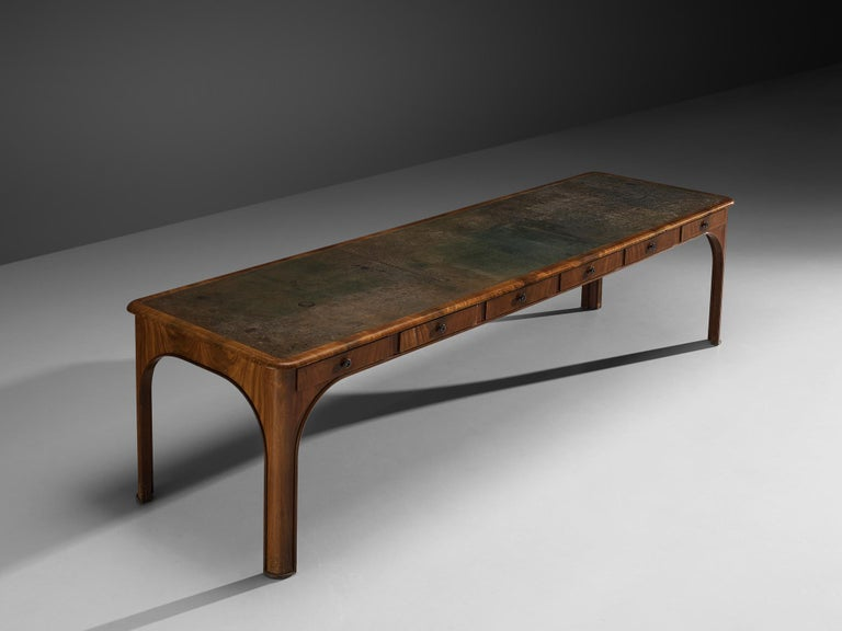 Early 20th Century Kaj Gottlob Long Dining Table with Drawers in Caucasian Nutwood, 1920s For Sale
