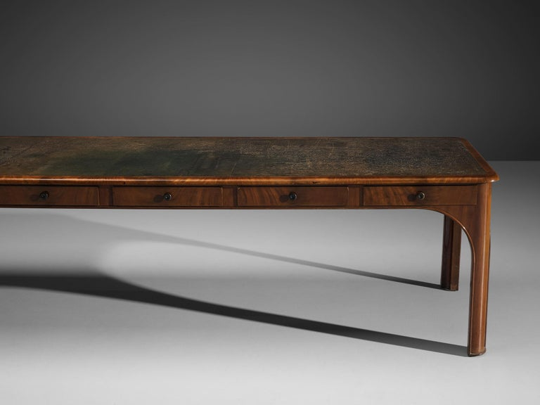 Kaj Gottlob Long Dining Table with Drawers in Caucasian Nutwood, 1920s For Sale 1