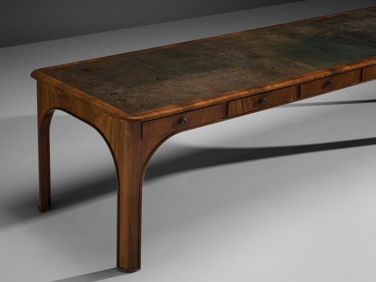 Kaj Gottlob Long Dining Table with Drawers in Caucasian Nutwood, 1920s For Sale 2