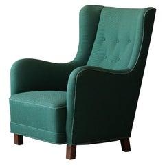 Kaj Gottlob, Rare Lounge Chair, Elm & Fabric, A.J. Iversen, Denmark, 1935