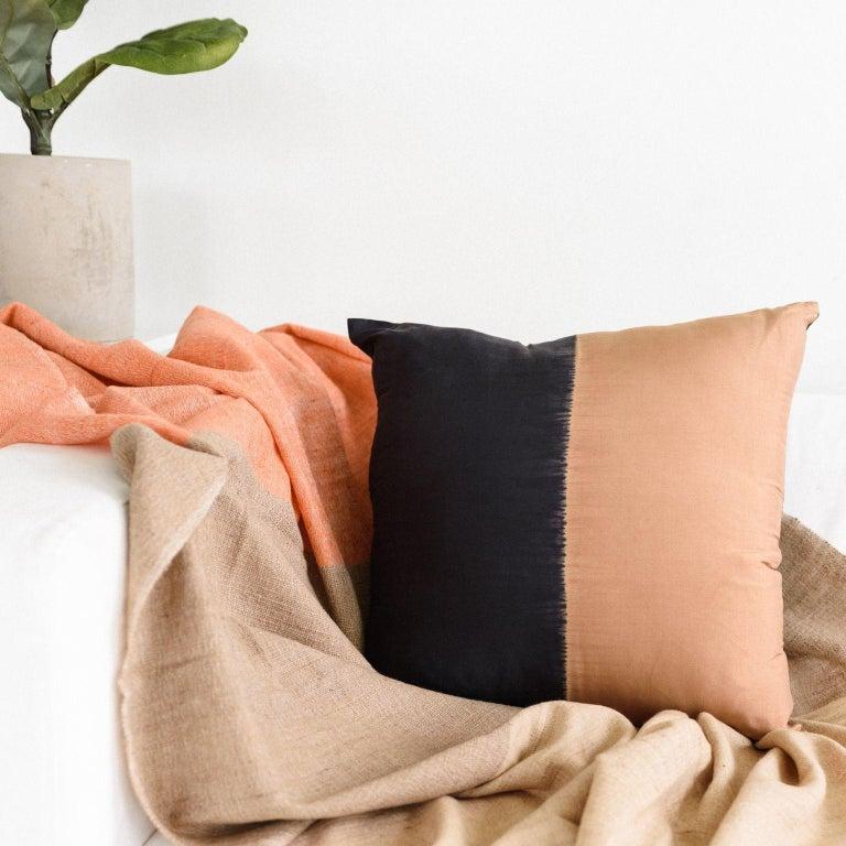 Modern KALA Silk Color Block Pillow in Black Gold  For Sale