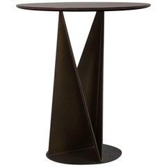 Kalan Side Table with Raw Metal Polyhedrons Base and Mahogany Wood