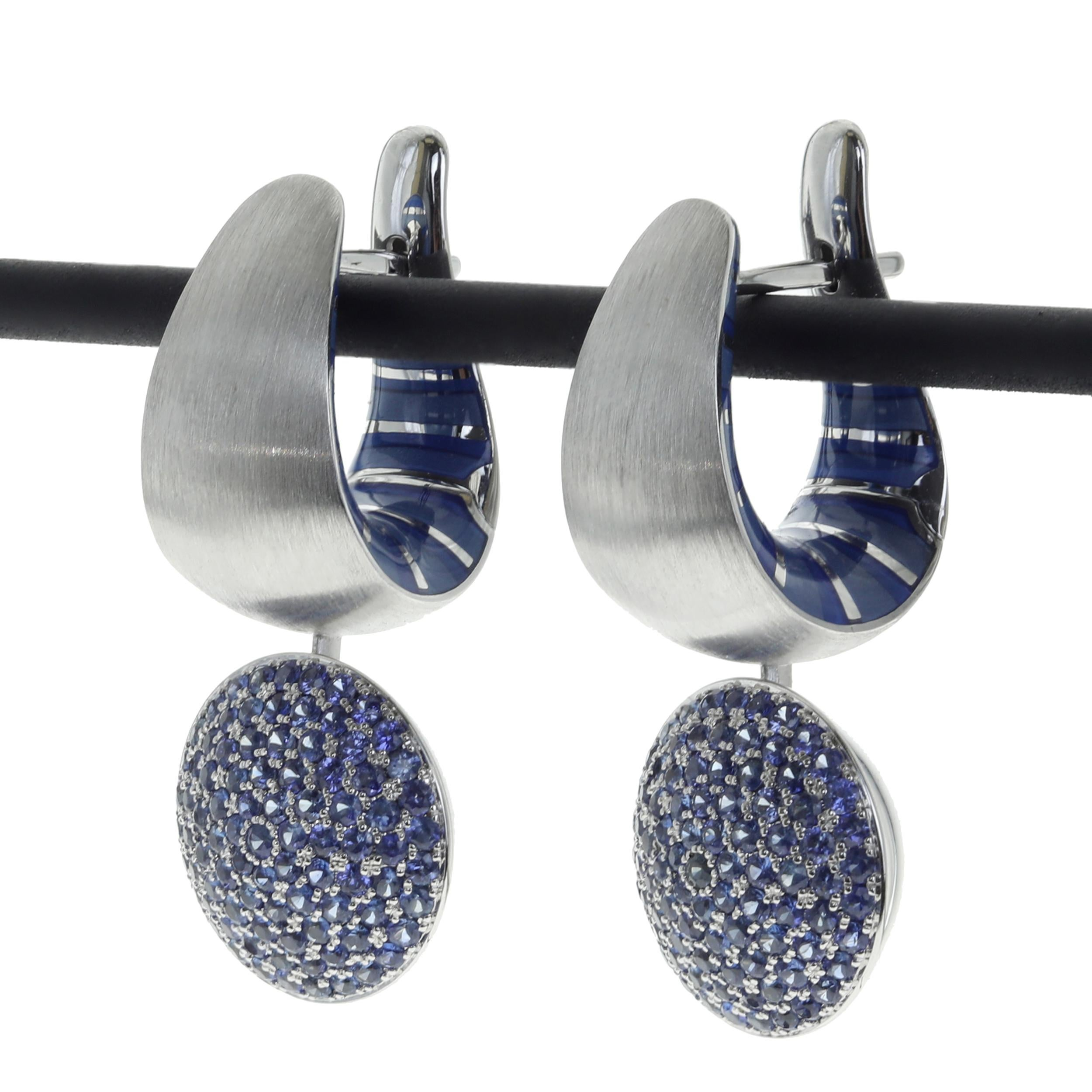 Kaleidoscope Collection Blue Sapphire Enamel 18 Karat White Gold Earrings