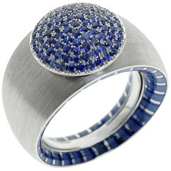 Kaleidoscope Collection Blue Sapphire Enamel 18 Karat White Gold Ring