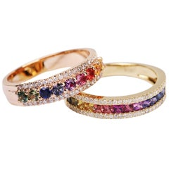 Kaleidoscope Diamond & Rainbow Sapphire 18 karat Gold Eternity Ring-Princess Cut