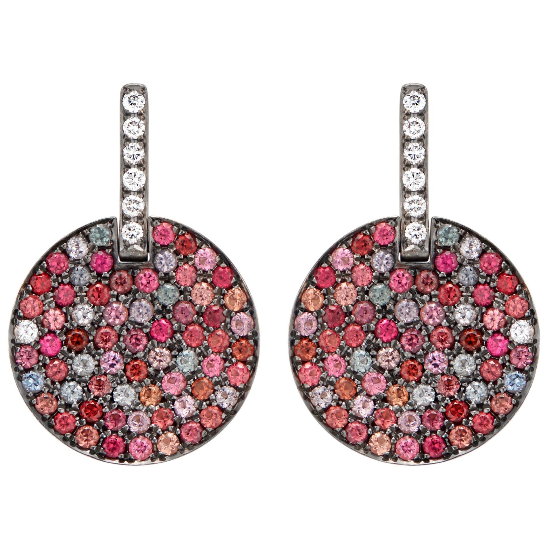 Kaleidoscope Multicolored Burma Spinel and Diamond Disc Dangle Earrings