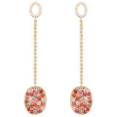 Kaleidoscope Multicolored Burma Spinel and Diamond Oval Dangle Earrings