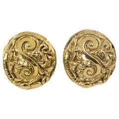 Kalinger Oversized Carved Gilt Resin Clip Earrings
