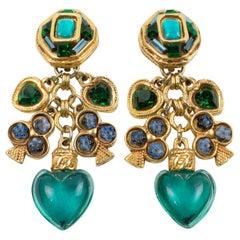 Kalinger Paris Clip Earrings Dangling Green Resin Heart and Club