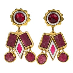 Kalinger Paris Clip Earrings Oversized Dangling Resin with Red Cabochons