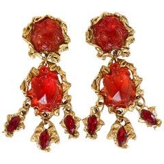 Kalinger Paris 1980s Couture Resin Dangle Earrings