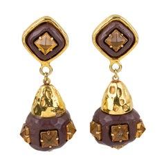 Kalinger Paris Dangle Clip Earrings Gilt Metal and Brown Resin