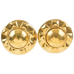 Kalinger Paris Gilt Resin Sun Clip Earrings