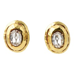 Kalinger Paris Gold Crystal Statement Earrings