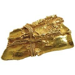 Kalinger Paris Gold Plated Resin Modernist Large Pin Brooch