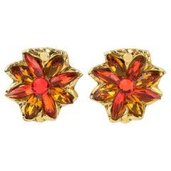 Kalinger Paris Jeweled Clip Earrings Orange and Honey Flower