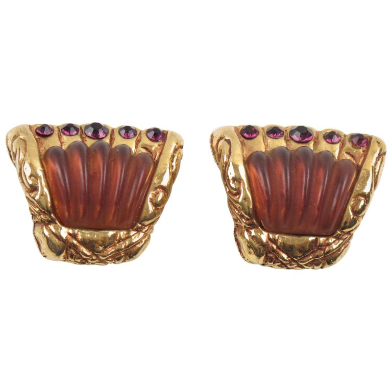Kalinger Paris Purple Resin Jeweled Clip Earrings For Sale