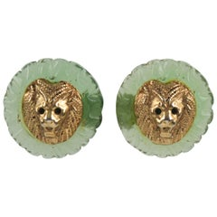 Kalinger Paris Resin Clip Earrings Lion Head
