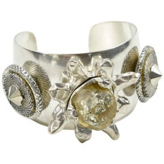 Kalinger Paris Silver Plate Cuff Bracelet with Resin Floral Charms