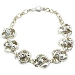 Kalinger Paris Silver Plate Jeweled Medallion Necklace