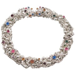 Kalinger Paris Silver Plate Jeweled Multi-Chain Choker Necklace