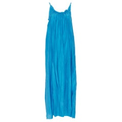 KALITA 100% silk blue gathered scoop neck dipped open back maxi dress XS