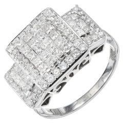 Kallati Design 2.52 Carat Princess Round Cut Diamond Gold Cocktail Ring