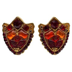 Kallinger, Paris 1980s Jeweled Shield Large Earrings
