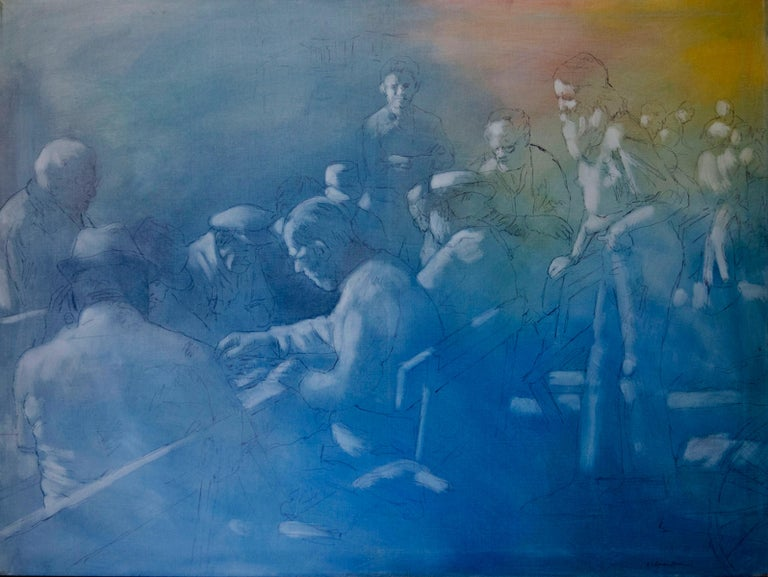 Kalman Aron Figurative Painting - A Gathering of Chess Players