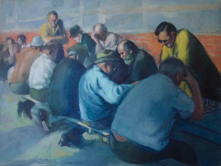 Kalman Aron Figurative Painting - The Chess Players