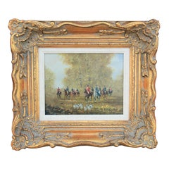 Naturalistic Figurative Landscape Painting of a Mounted Hunting Party with Dogs