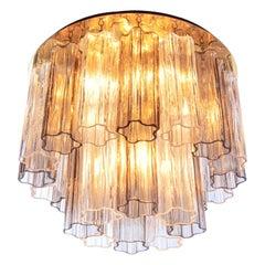 Kalmar Amber Flush Mount Ceiling Light with Venini Tronchi Murano Glass & Brass