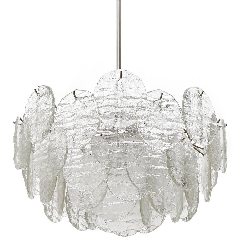 A large light fixtures model 'Blatt' (Blatt is the German word for leaf) by J.T. Kalmar, Austria, manufactured in midcentury, circa 1970 (late 1960s or early 1970s).